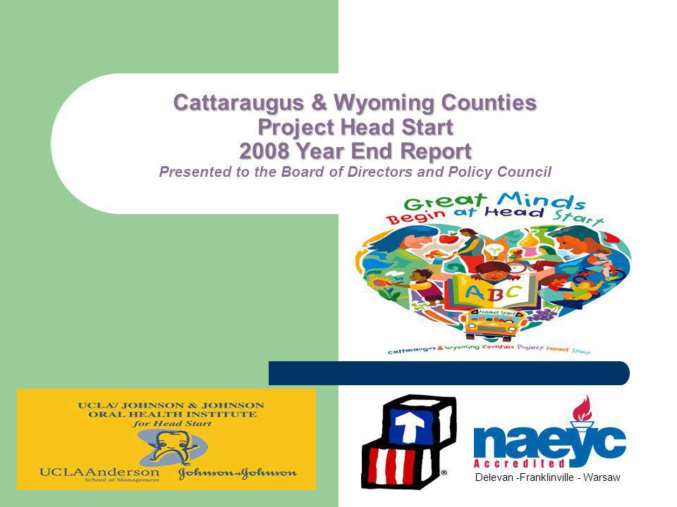 Cattaraugus & Wyoming Counties Project Head Start 2008 Year End Report Cattaraugus & Wyoming Counties Project Head Start 2008 Year End Report Presented to the Board of Directors and Policy Council Delevan -Franklinville - Warsaw