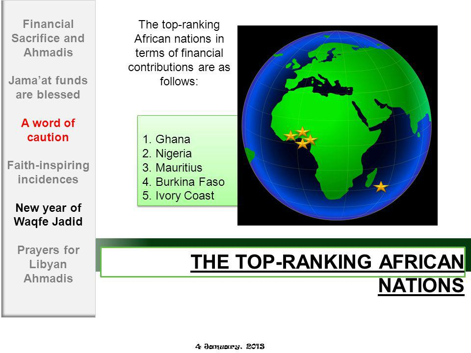 THE TOP-RANKING AFRICAN NATIONS 1. Ghana 2. Nigeria 3.
