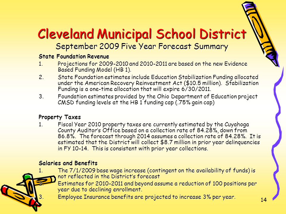 14 Cleveland Municipal School District September 2009 Five Year Forecast Summary State Foundation Revenue 1.Projections for 2009-2010 and 2010-2011 are based on the new Evidence Based Funding Model (HB 1).