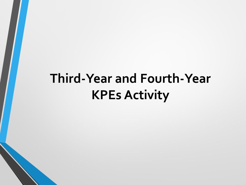 Third-Year and Fourth-Year KPEs Activity