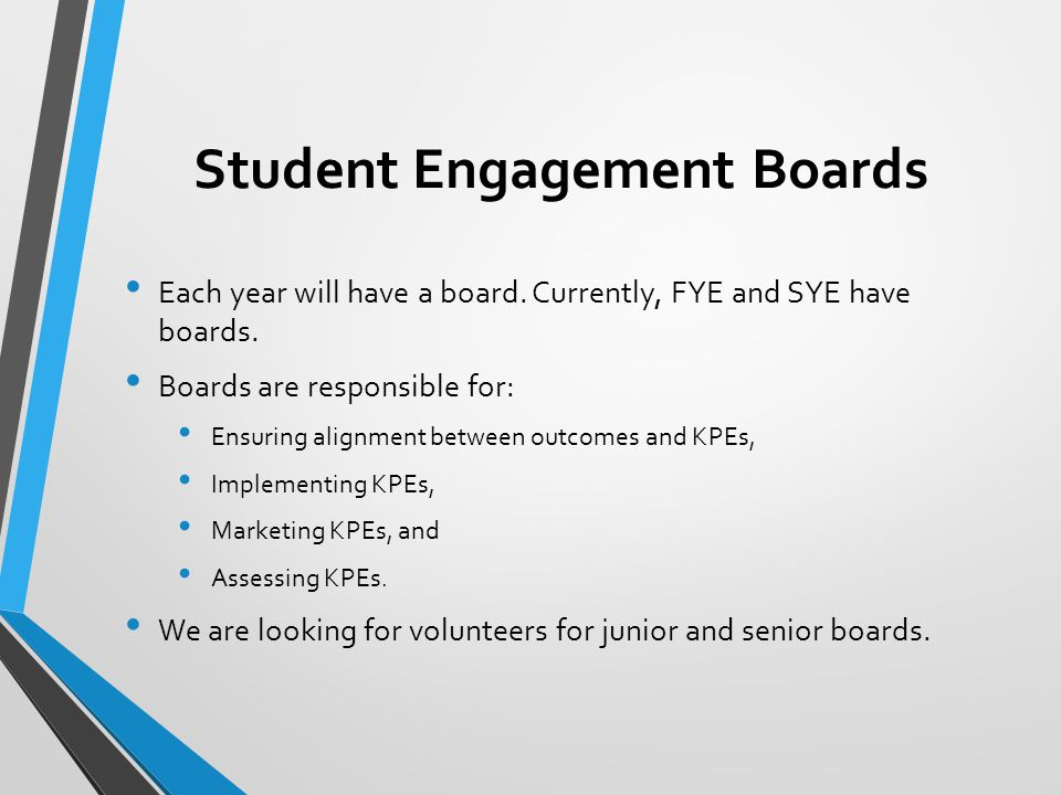 Student Engagement Boards Each year will have a board. Currently, FYE and SYE have boards. Boards are responsible for: Ensuring alignment between outc