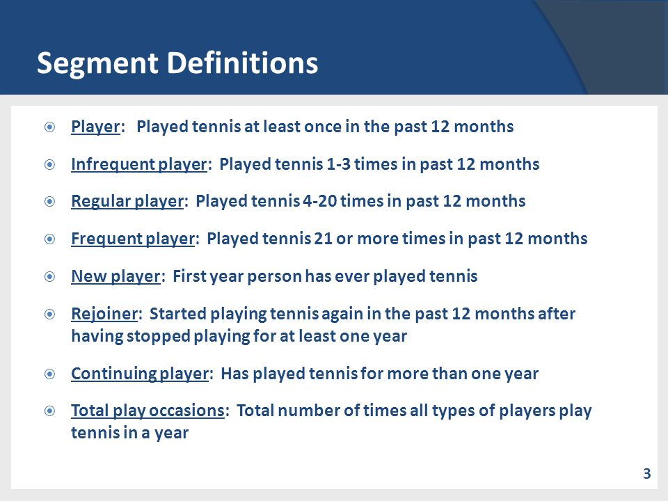 Segment Definitions Player: Played tennis at least once in the past 12 months Infrequent player: Played tennis 1-3 times in past 12 months Regular pla