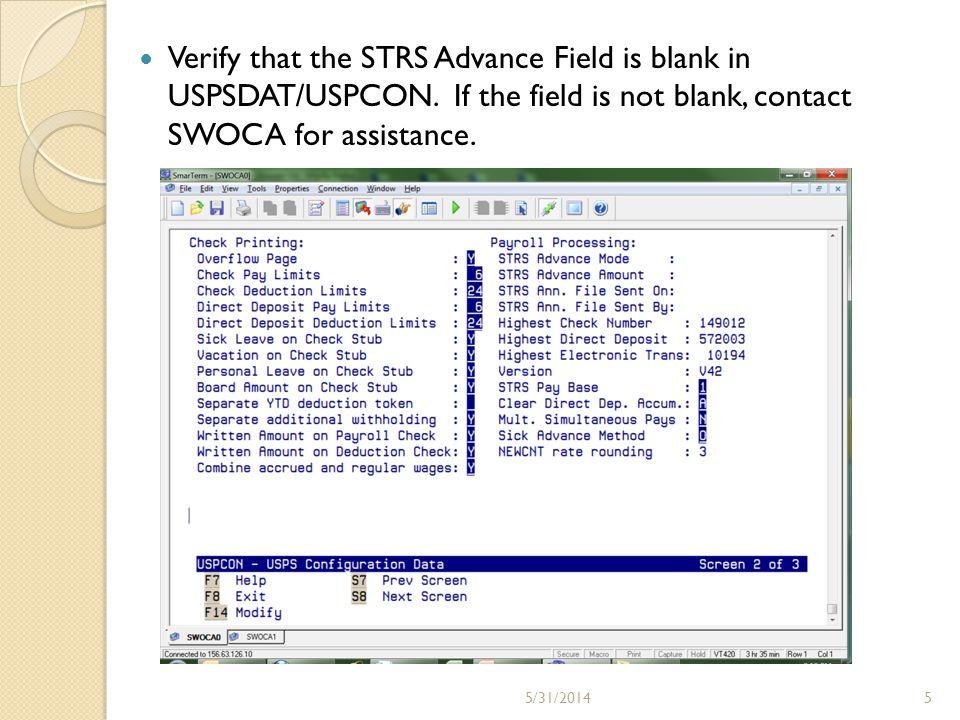 Run STRSWRK (STRS worksheet).