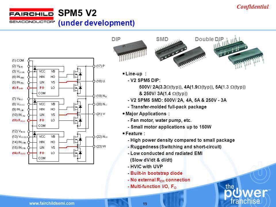 Confidential 19 Line-up : - V2 SPM5 DIP: 500V/ 2A(3.3 (typ)), 4A(1.9 (typ)), 5A(1.3 (typ)) & 250V/ 3A(1.4 (typ)) - V2 SPM5 SMD: 500V/ 2A, 4A, 5A & 250