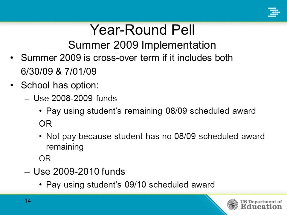 Year-Round Pell Summer 2009 Implementation Summer 2009 is cross-over term if it includes both 6/30/09 & 7/01/09 School has option: –Use 2008-2009 funds Pay using students remaining 08/09 scheduled award OR Not pay because student has no 08/09 scheduled award remaining OR –Use 2009-2010 funds Pay using students 09/10 scheduled award 14