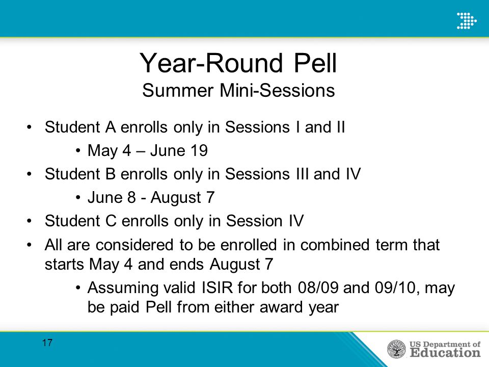 Year-Round Pell Summer Mini-Sessions Student A enrolls only in Sessions I and II May 4 – June 19 Student B enrolls only in Sessions III and IV June 8 - August 7 Student C enrolls only in Session IV All are considered to be enrolled in combined term that starts May 4 and ends August 7 Assuming valid ISIR for both 08/09 and 09/10, may be paid Pell from either award year 17