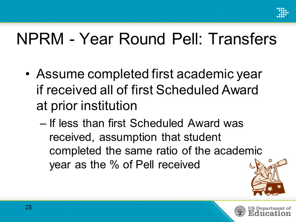 NPRM - Year Round Pell: Transfers Assume completed first academic year if received all of first Scheduled Award at prior institution –If less than first Scheduled Award was received, assumption that student completed the same ratio of the academic year as the % of Pell received 25
