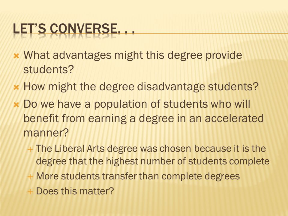 What advantages might this degree provide students.