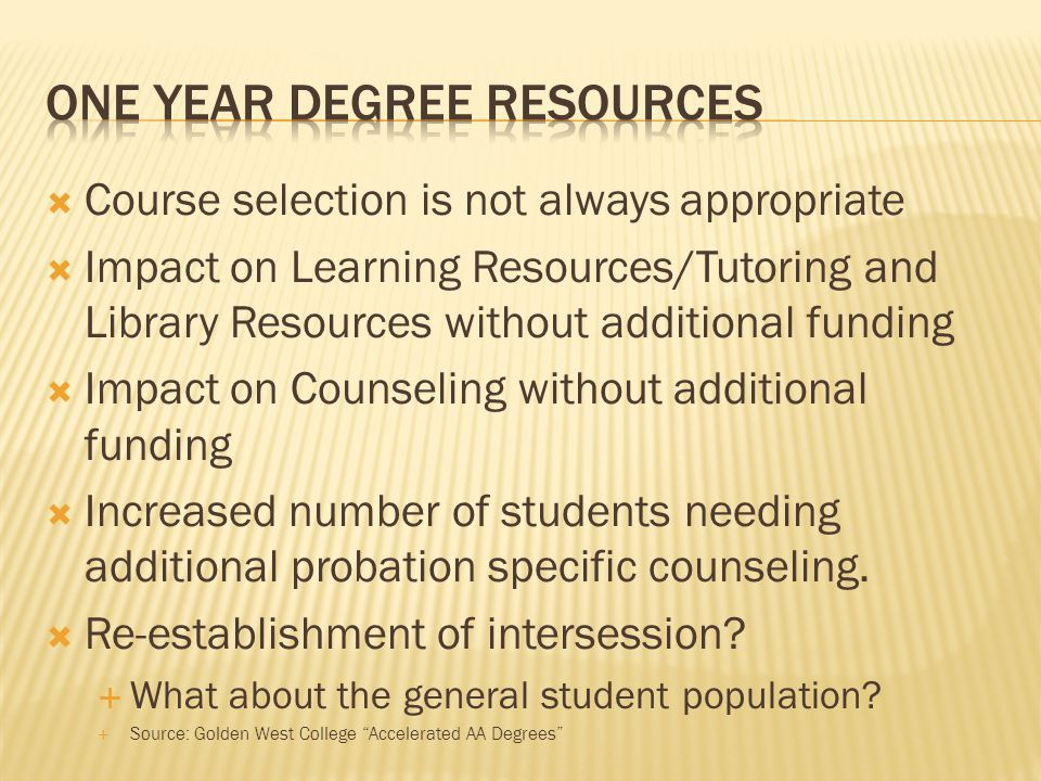 Course selection is not always appropriate Impact on Learning Resources/Tutoring and Library Resources without additional funding Impact on Counseling without additional funding Increased number of students needing additional probation specific counseling.