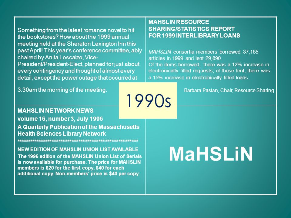 1990s Mass. Medical Society equipment grant MAHSLIN Hall of Fame introduced MAHSLIN Web Page Hospital mergers