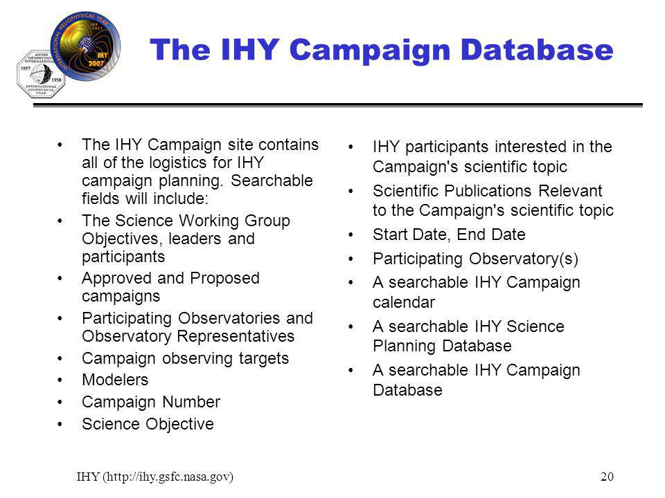 IHY (http://ihy.gsfc.nasa.gov)20 The IHY Campaign Database The IHY Campaign site contains all of the logistics for IHY campaign planning.