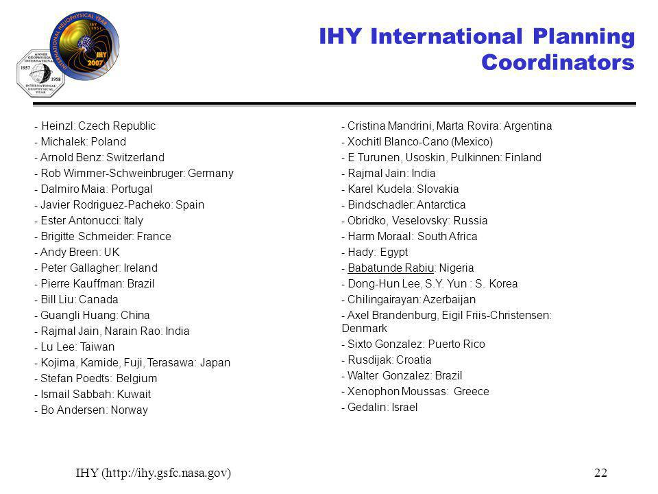 IHY (http://ihy.gsfc.nasa.gov)22 IHY International Planning Coordinators - Heinzl: Czech Republic - Michalek: Poland - Arnold Benz: Switzerland - Rob