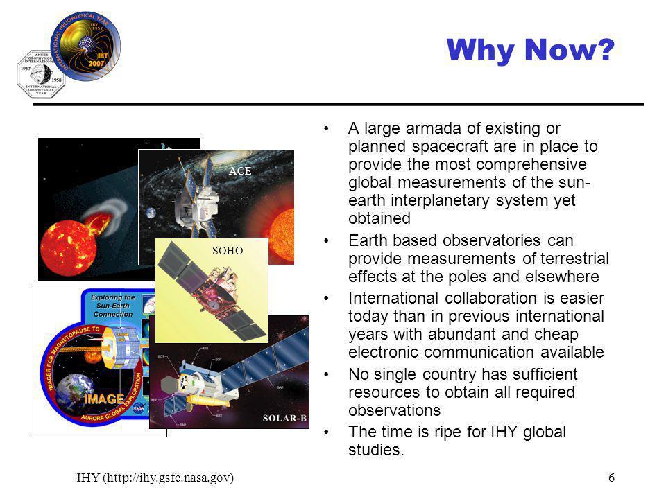 IHY (http://ihy.gsfc.nasa.gov)6 Why Now.