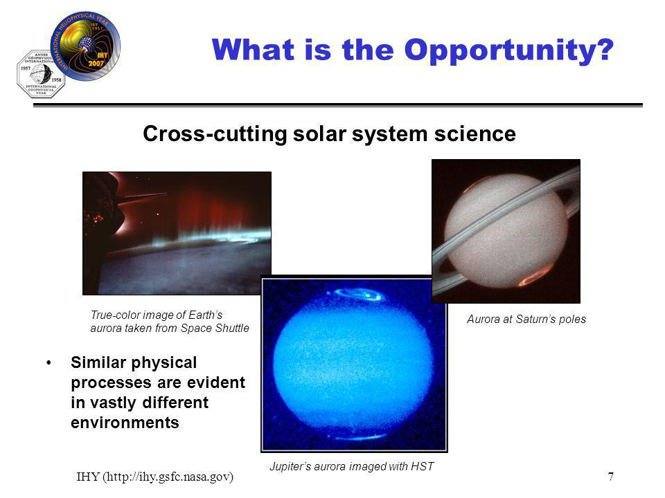 IHY (http://ihy.gsfc.nasa.gov)7 What is the Opportunity? Similar physical processes are evident in vastly different environments True-color image of E