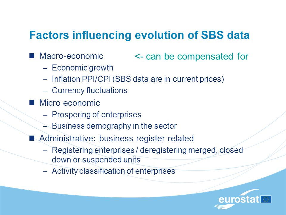 Factors influencing evolution of SBS data Macro-economic –Economic growth –Inflation PPI/CPI (SBS data are in current prices) –Currency fluctuations M
