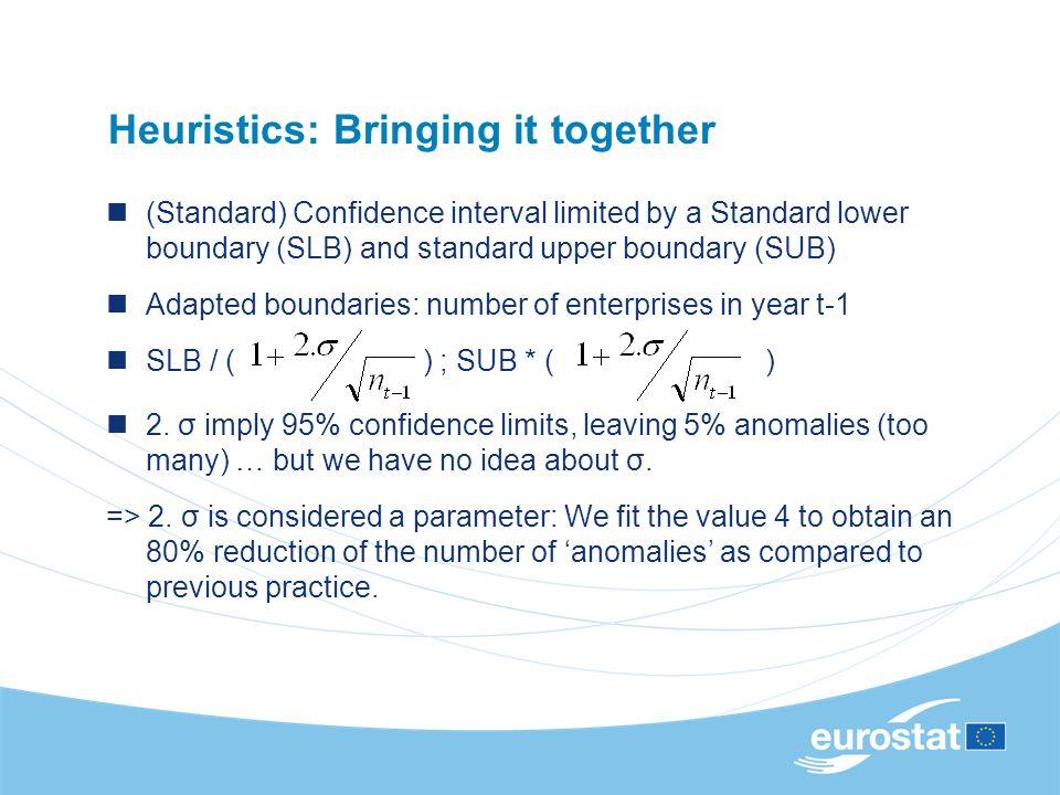 Heuristics: Bringing it together (Standard) Confidence interval limited by a Standard lower boundary (SLB) and standard upper boundary (SUB) Adapted b