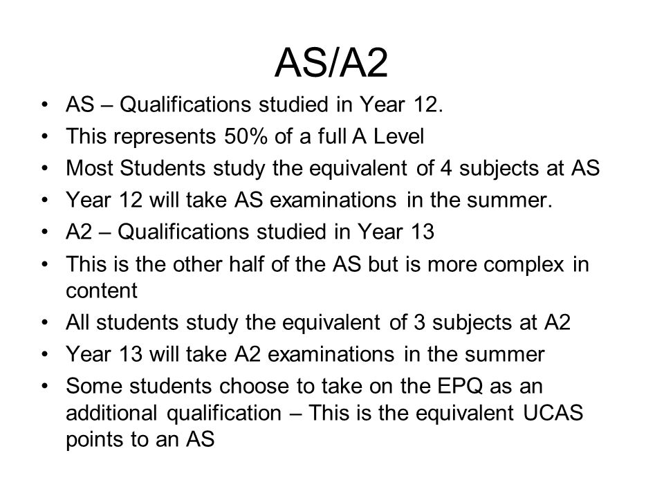 AS/A2 AS – Qualifications studied in Year 12.