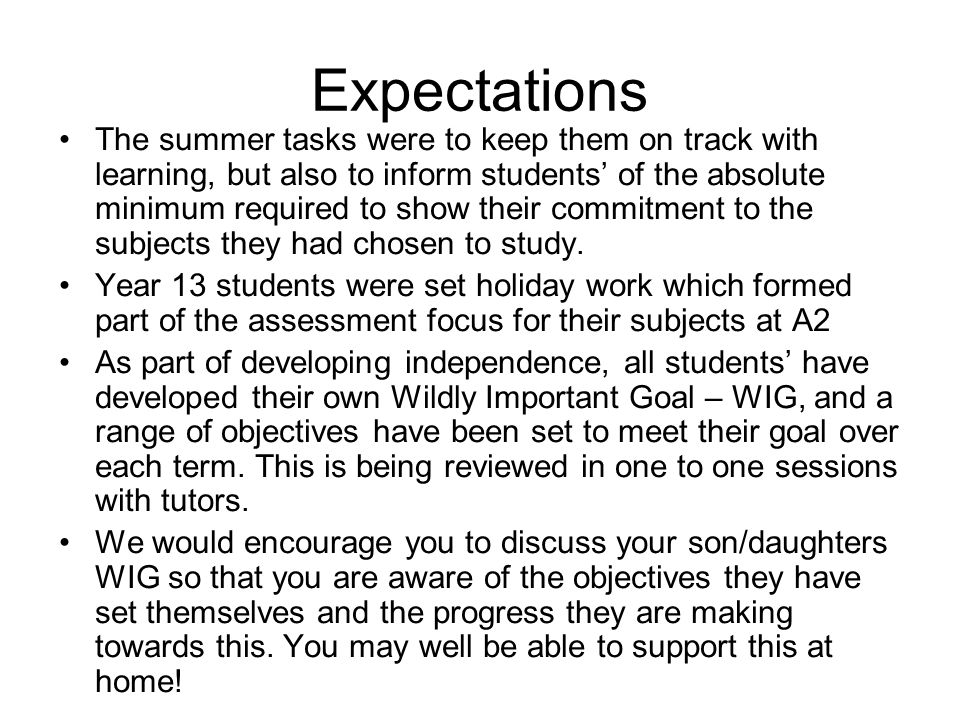 The summer tasks were to keep them on track with learning, but also to inform students of the absolute minimum required to show their commitment to the subjects they had chosen to study.
