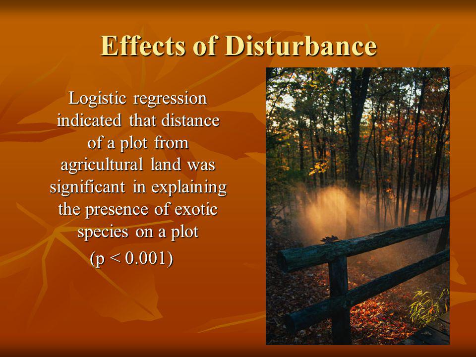 Effects of Disturbance Logistic regression indicated that distance of a plot from agricultural land was significant in explaining the presence of exotic species on a plot (p < 0.001) (p < 0.001)