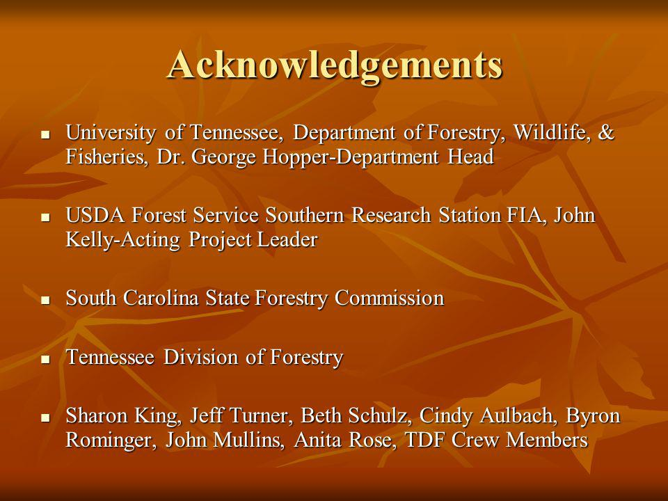 Acknowledgements University of Tennessee, Department of Forestry, Wildlife, & Fisheries, Dr.