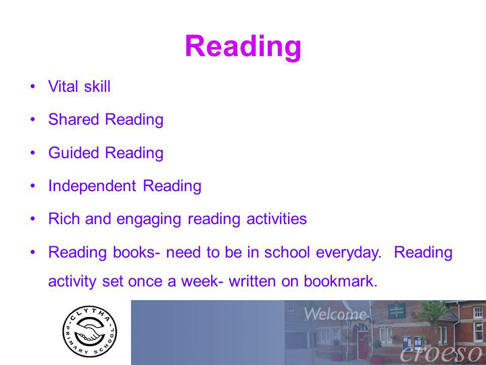 Reading Vital skill Shared Reading Guided Reading Independent Reading Rich and engaging reading activities Reading books- need to be in school everyday.
