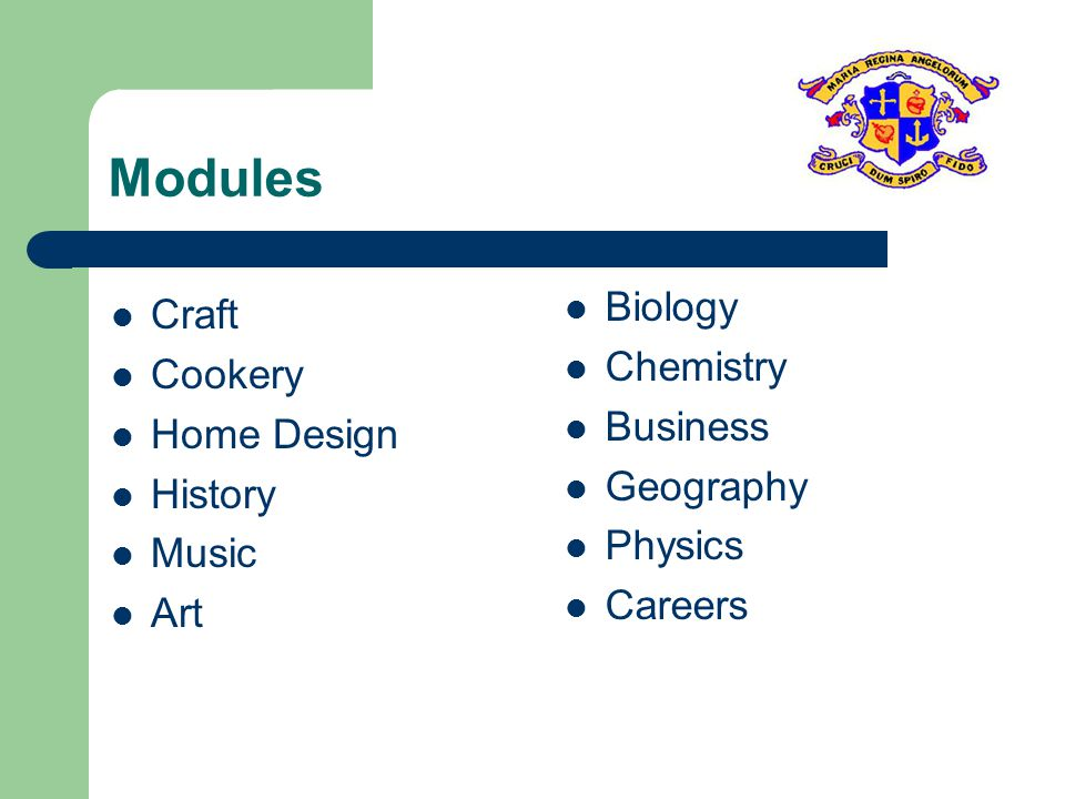 Modules Craft Cookery Home Design History Music Art Biology Chemistry Business Geography Physics Careers