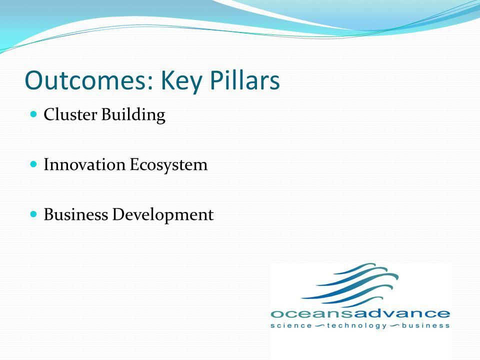 Outcomes: Key Pillars Cluster Building Innovation Ecosystem Business Development