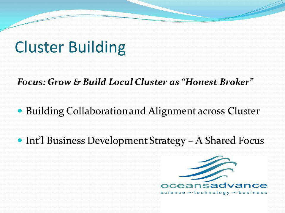 Cluster Building Focus: Grow & Build Local Cluster as Honest Broker Building Collaboration and Alignment across Cluster Intl Business Development Stra