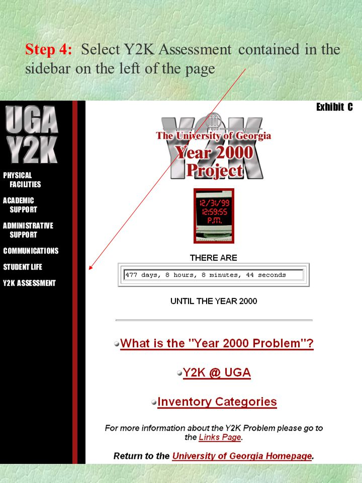 Step 4: Select Y2K Assessment contained in the sidebar on the left of the page