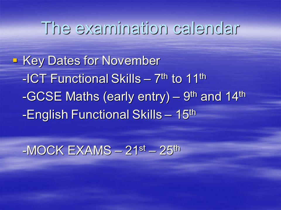 The examination calendar Key Dates for November Key Dates for November -ICT Functional Skills – 7 th to 11 th -ICT Functional Skills – 7 th to 11 th -