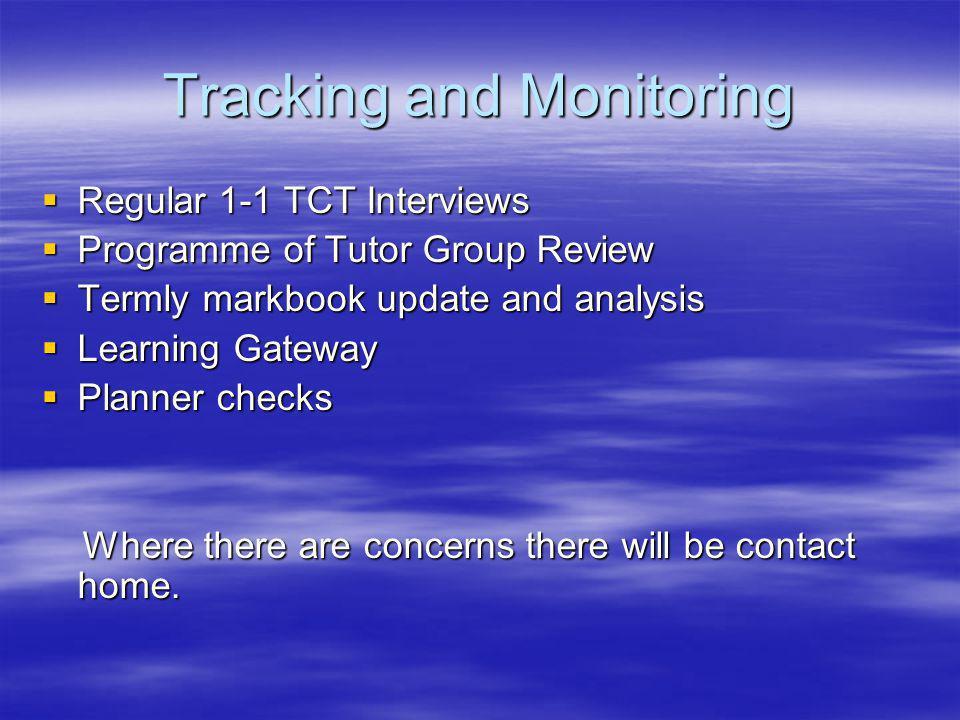 Tracking and Monitoring Regular 1-1 TCT Interviews Regular 1-1 TCT Interviews Programme of Tutor Group Review Programme of Tutor Group Review Termly m