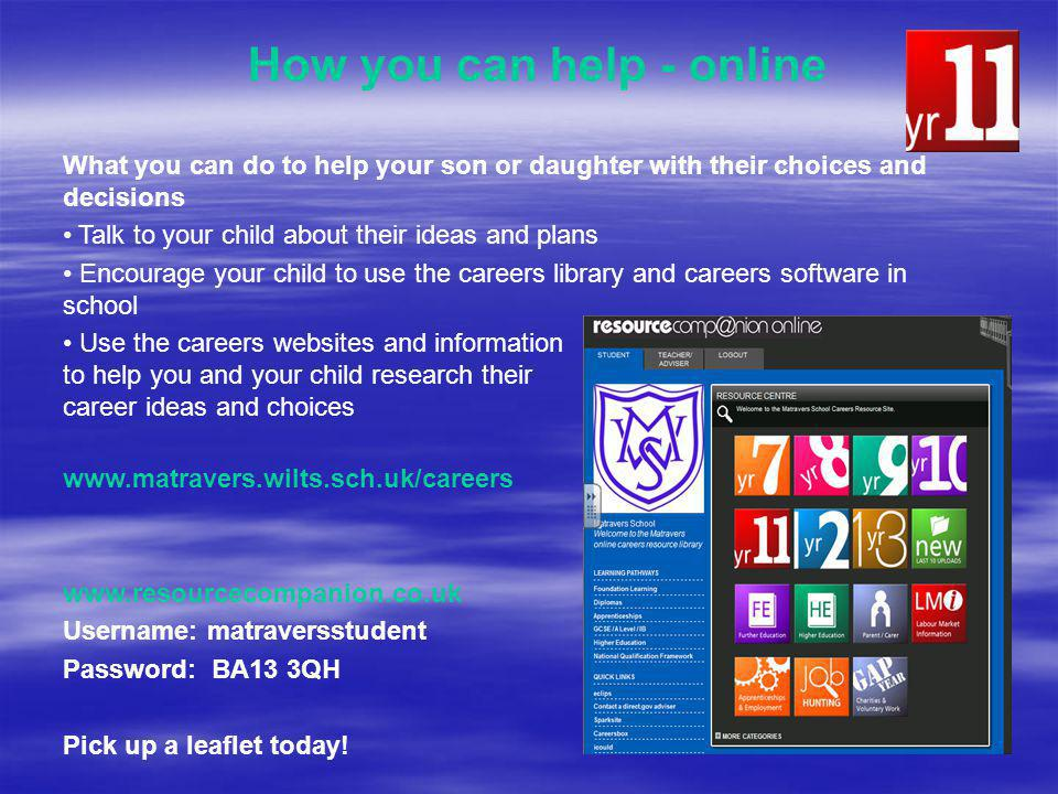 How you can help - online What you can do to help your son or daughter with their choices and decisions Talk to your child about their ideas and plans Encourage your child to use the careers library and careers software in school Use the careers websites and information to help you and your child research their career ideas and choices www.matravers.wilts.sch.uk/careers www.resourcecompanion.co.uk Username: matraversstudent Password: BA13 3QH Pick up a leaflet today!