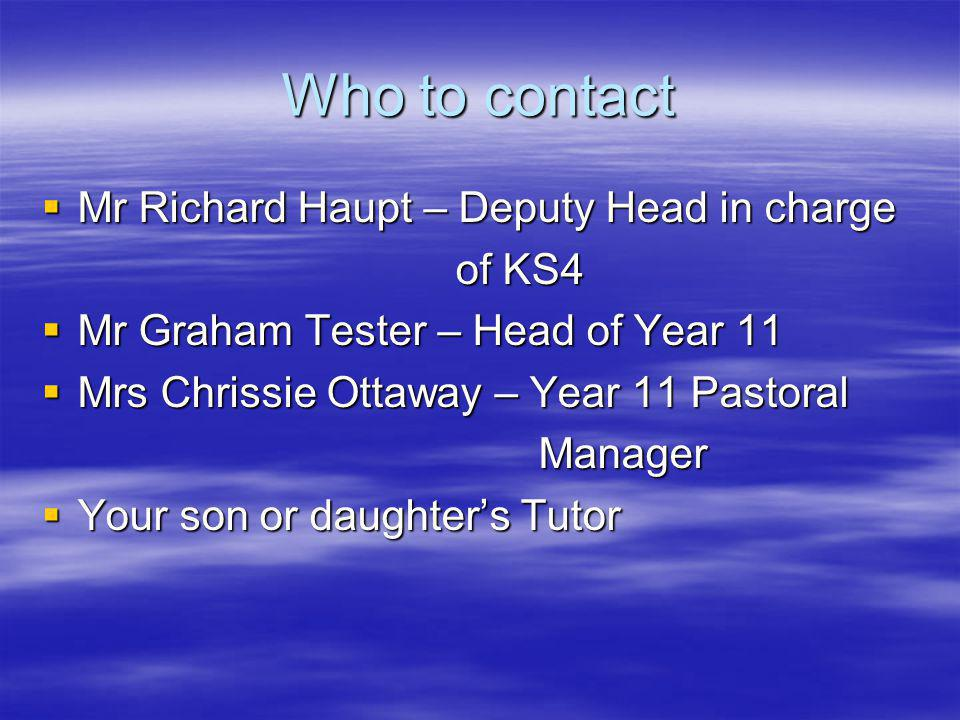 Who to contact Mr Richard Haupt – Deputy Head in charge Mr Richard Haupt – Deputy Head in charge of KS4 of KS4 Mr Graham Tester – Head of Year 11 Mr Graham Tester – Head of Year 11 Mrs Chrissie Ottaway – Year 11 Pastoral Mrs Chrissie Ottaway – Year 11 Pastoral Manager Manager Your son or daughters Tutor Your son or daughters Tutor