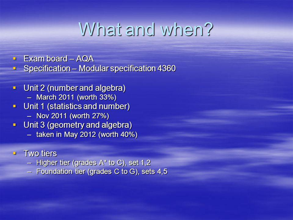 What and when? Exam board – AQA Exam board – AQA Specification – Modular specification 4360 Specification – Modular specification 4360 Unit 2 (number