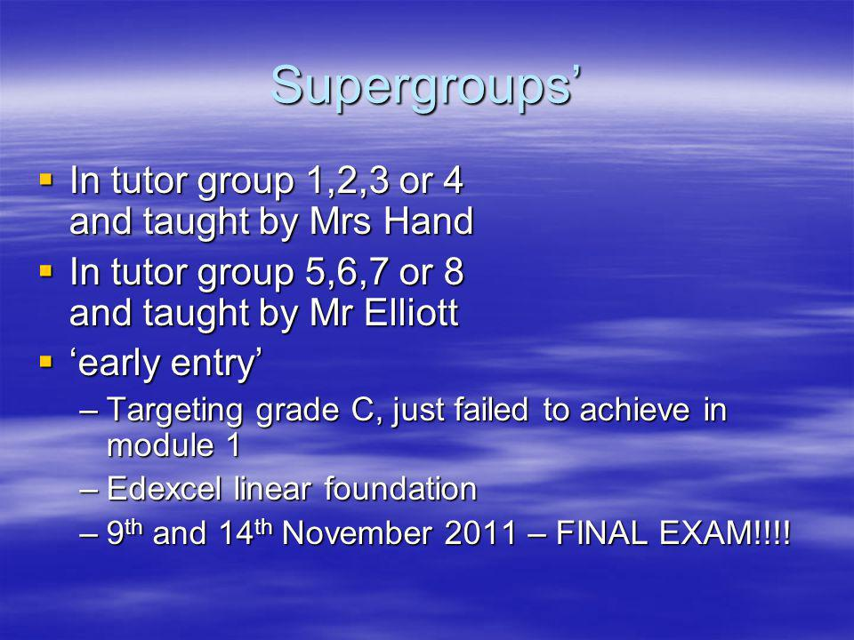 Supergroups In tutor group 1,2,3 or 4 and taught by Mrs Hand In tutor group 1,2,3 or 4 and taught by Mrs Hand In tutor group 5,6,7 or 8 and taught by Mr Elliott In tutor group 5,6,7 or 8 and taught by Mr Elliott early entry early entry –Targeting grade C, just failed to achieve in module 1 –Edexcel linear foundation –9 th and 14 th November 2011 – FINAL EXAM!!!!