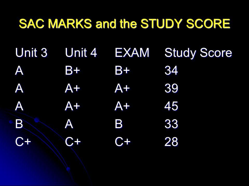 SAC MARKS and the STUDY SCORE Unit 3Unit 4EXAMStudy Score AB+B+34 AA+A+39 AA+A+45 BAB33 C+C+C+28