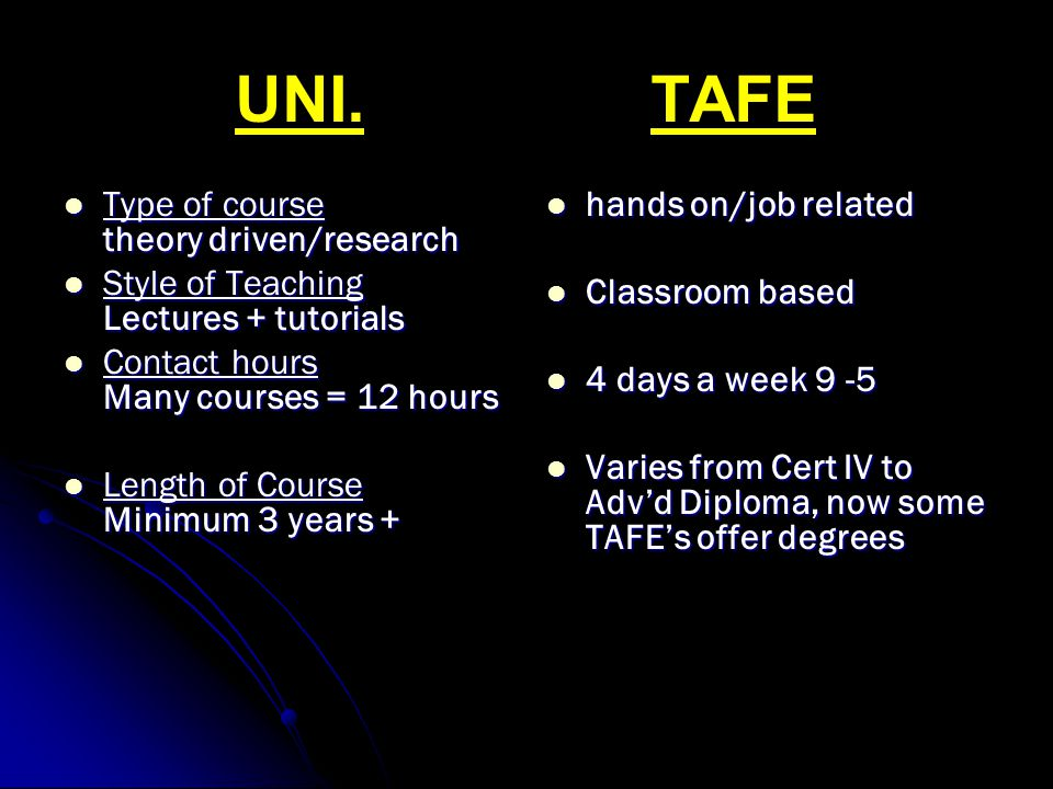 UNI. TAFE Type of course theory driven/research Type of course theory driven/research Style of Teaching Lectures + tutorials Style of Teaching Lecture