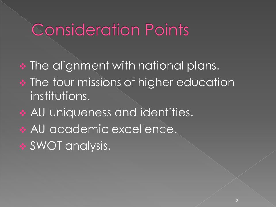 The alignment with national plans. The four missions of higher education institutions. AU uniqueness and identities. AU academic excellence. SWOT anal