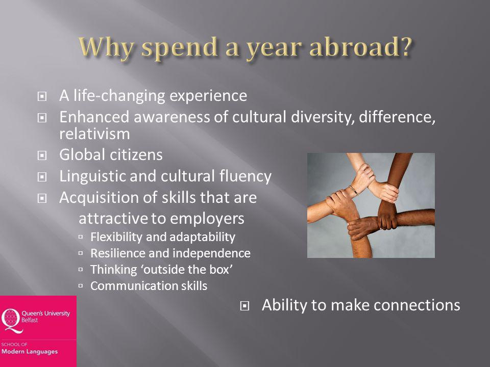A life-changing experience Enhanced awareness of cultural diversity, difference, relativism Global citizens Linguistic and cultural fluency Acquisition of skills that are attractive to employers Flexibility and adaptability Resilience and independence Thinking outside the box Communication skills Ability to make connections