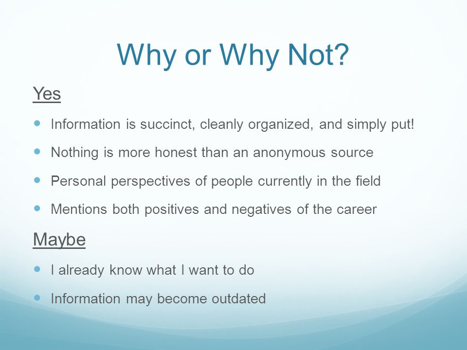 Why or Why Not. Yes Information is succinct, cleanly organized, and simply put.