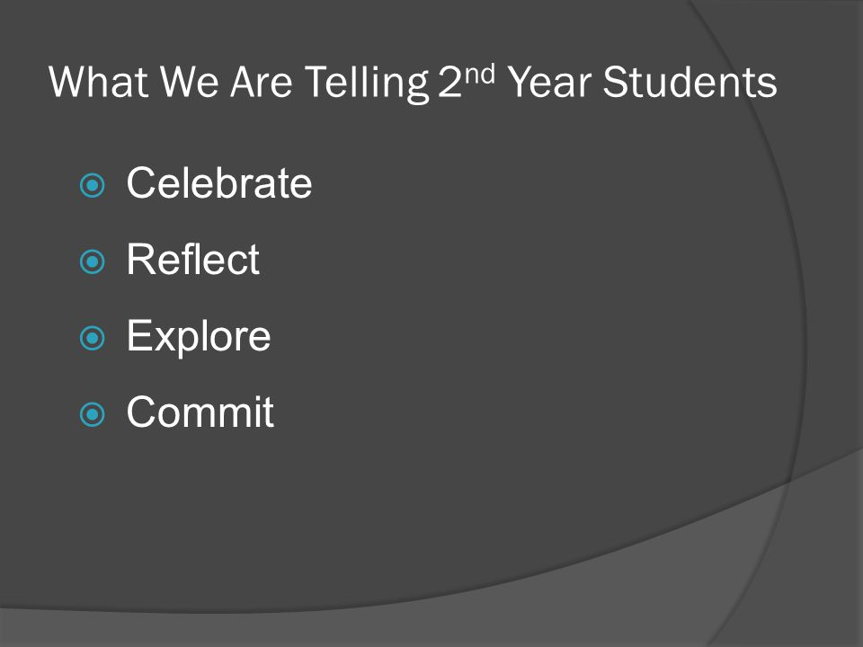 What We Are Telling 2 nd Year Students Celebrate Reflect Explore Commit