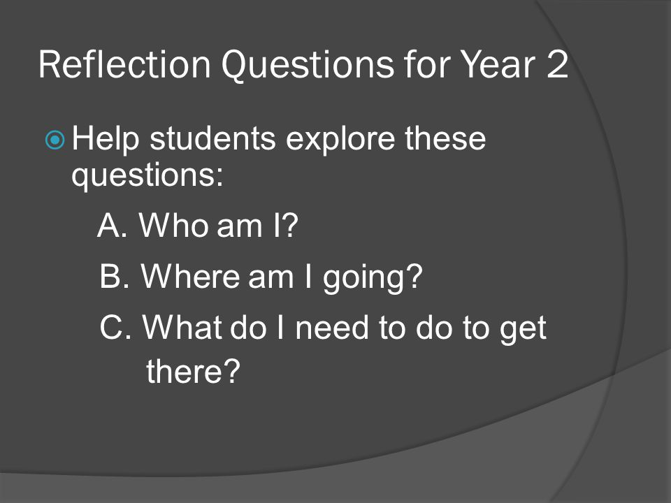 Reflection Questions for Year 2 Help students explore these questions: A. Who am I? B. Where am I going? C. What do I need to do to get there?