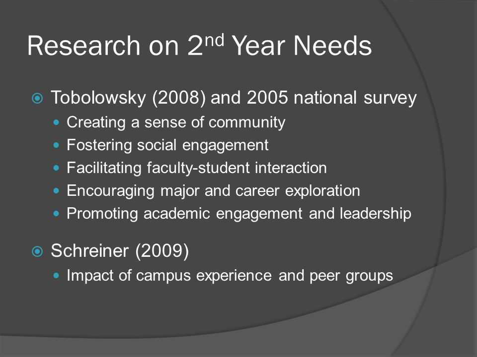 Research on 2 nd Year Needs Tobolowsky (2008) and 2005 national survey Creating a sense of community Fostering social engagement Facilitating faculty-