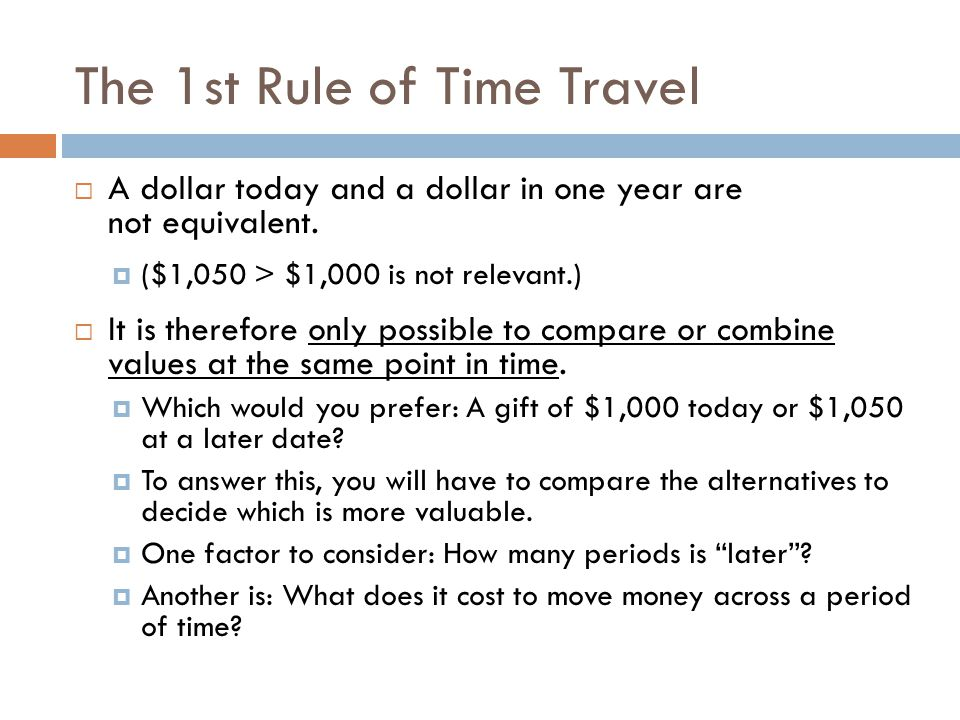 The 2nd Rule of Time Travel To move a cash flow forward in time, you must compound it.
