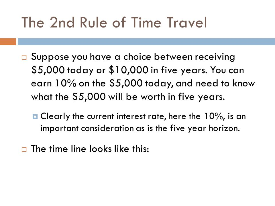 The 2nd Rule of Time Travel In five years, the $5,000 would grow to: $5,000 × (1.10) 5 = $8,053.55 The future value of $5,000 at 10% for five years is $8,053.