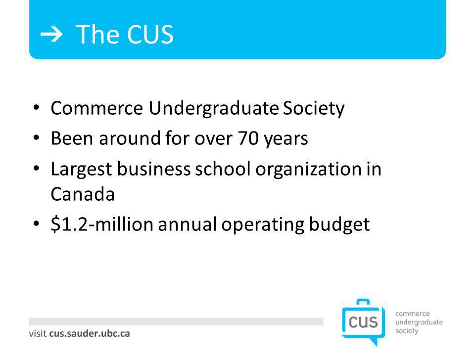 The CUS Commerce Undergraduate Society Been around for over 70 years Largest business school organization in Canada $1.2-million annual operating budget