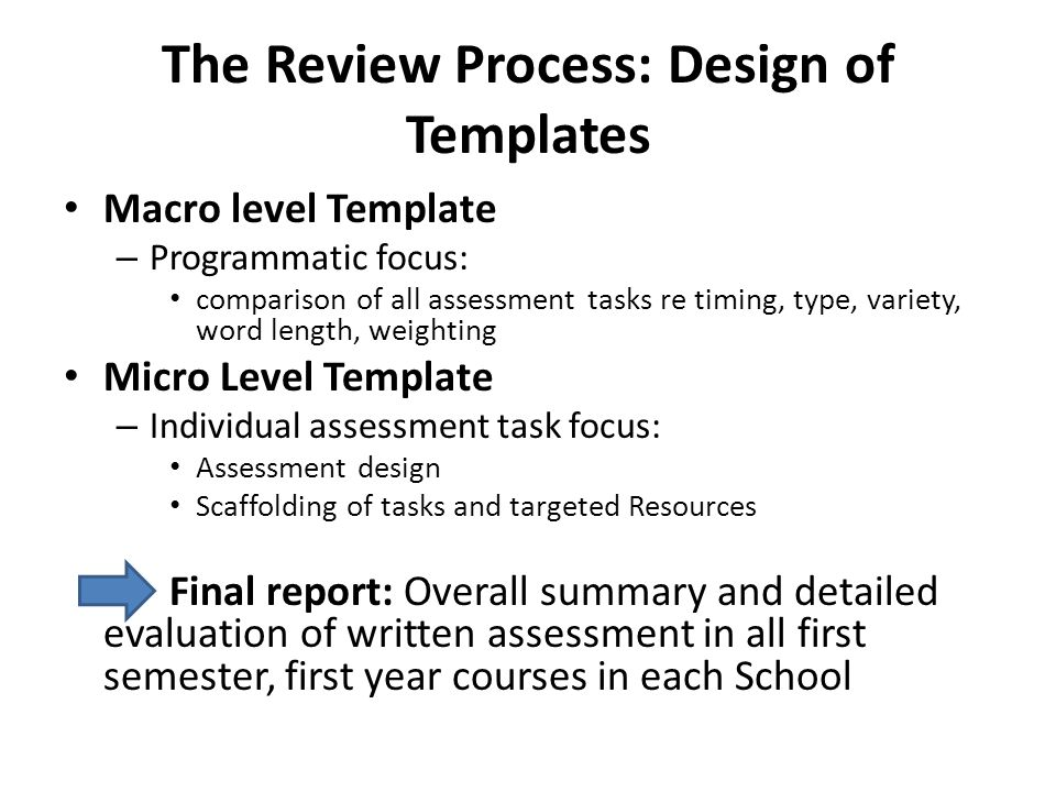 The Review Process: Design of Templates Macro level Template – Programmatic focus: comparison of all assessment tasks re timing, type, variety, word l