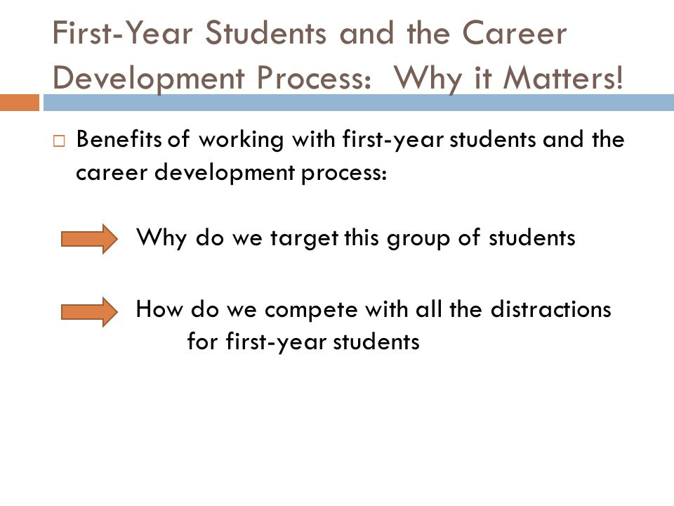 First-Year Students and the Career Development Process: Why it Matters.