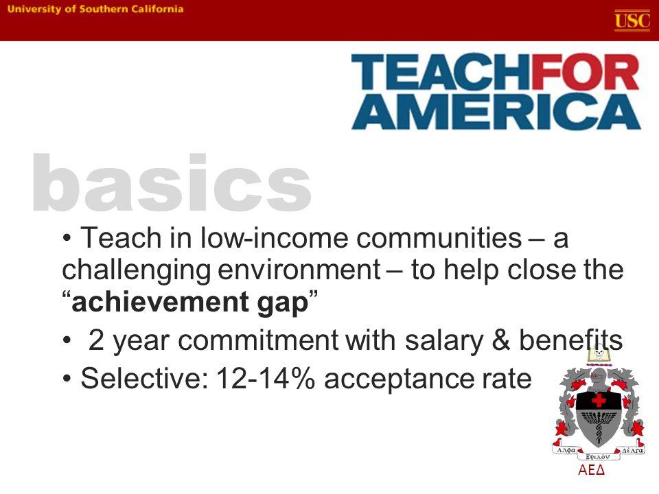 ΑΕΔ Teach in low-income communities – a challenging environment – to help close theachievement gap 2 year commitment with salary & benefits Selective: 12-14% acceptance rate basics