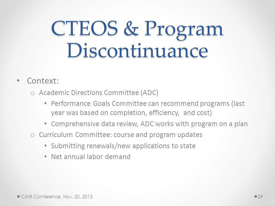 CTEOS & Program Discontinuance Context: o Academic Directions Committee (ADC) Performance Goals Committee can recommend programs (last year was based on completion, efficiency, and cost) Comprehensive data review, ADC works with program on a plan o Curriculum Committee: course and program updates Submitting renewals/new applications to state Net annual labor demand CAIR Conference, Nov.
